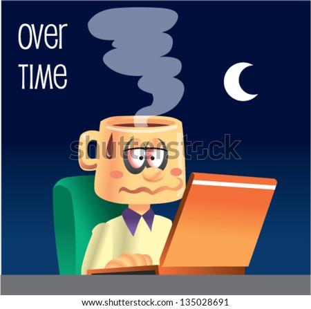 overtime working cartoon - stock vector