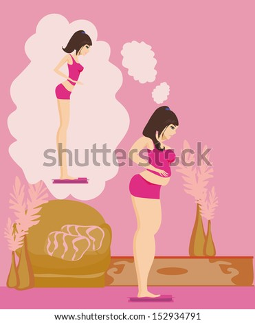 Overweight girl brunette checking her weight on scales  - stock vector