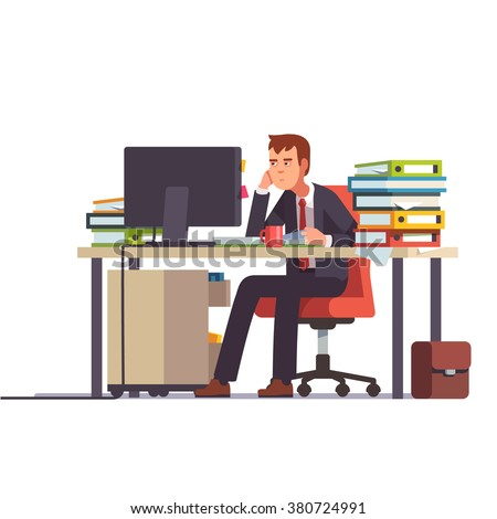 Overworked and tired looking accountant sitting at his desk with piled document binders. Business stress. Flat style modern vector illustration. - stock vector