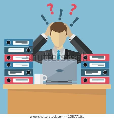 Overworked employee, work stress, paperwork vector illustration - stock vector