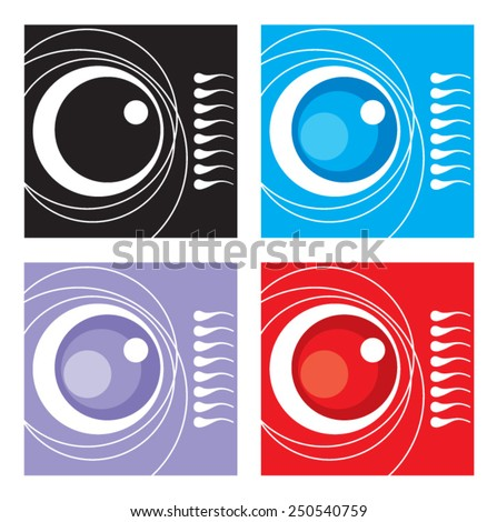 Ovule and sperm. Icon. Vector. 1 Stylized fertilization process. Four color options. Graphic element. Logo. - stock vector