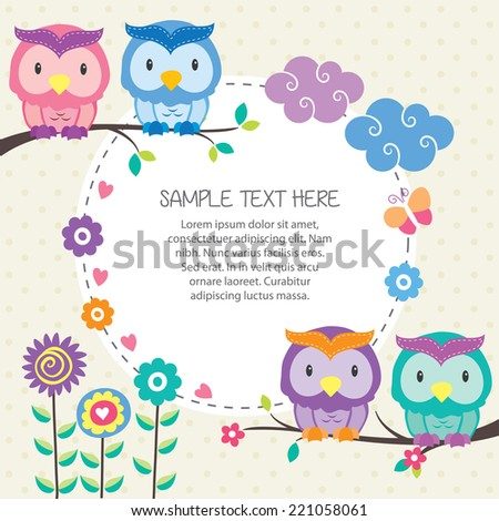 owl and garden layout design - stock vector