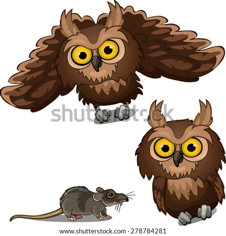 owl and gray mouse - stock vector