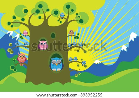 Owl and owlets on big tree - hills and mountains - woodland vector illustration. Blue sky with yellow sunburst background - morning in mountain valley. Summer cartoon landscape with cute owls bird.  - stock vector