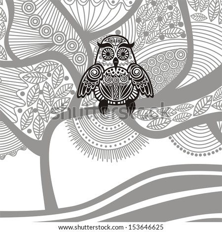 Owl and tree vector illustration - stock vector