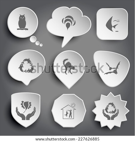 owl, bee, fish, killer whale as recycling symbol, cat, bats, bird in hands, home dog, protection sea life. White vector buttons on gray. - stock vector