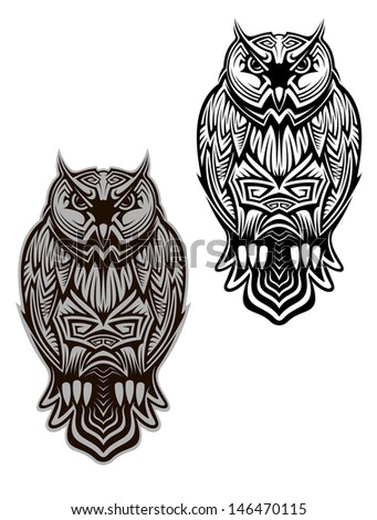 Owl bird in tribal style for tattoo or another design or idea of logo. Jpeg version also available in gallery - stock vector