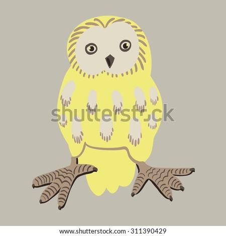 Owl bird print - stock vector