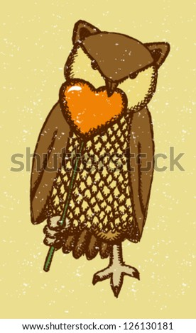 Owl bite heart-candy, vector Valentine illustration - stock vector