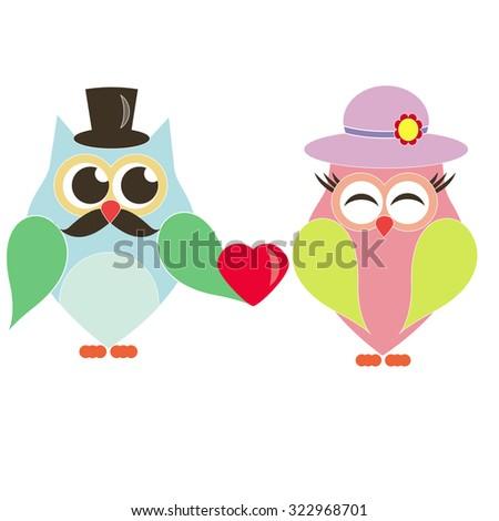 owl boy does offer owl vector girl - stock vector