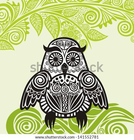 Owl branch vector illustration - stock vector