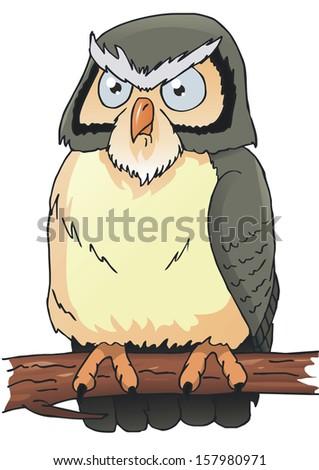 owl cartoon - stock vector