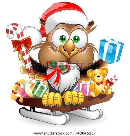 Owl Christmas Santa Happy Face Character