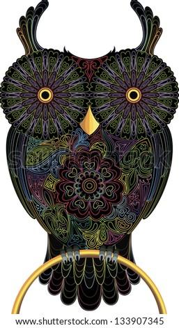 Owl, color contour - stock vector