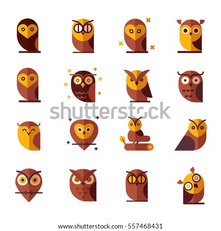 owl color vector illustration collection set of flat owls unique illustration for design