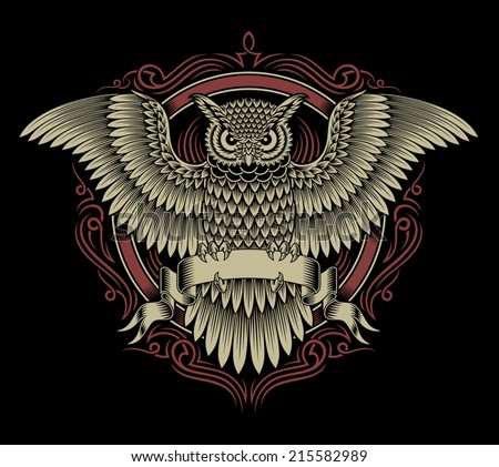 Owl Crest - stock vector