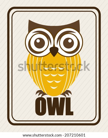 owl design over beige background vector illustration - stock vector