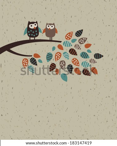 Owl family and leaves The happy birds family on the brunch. Empty place for text. Color vector illustration on the craft textured background. - stock vector