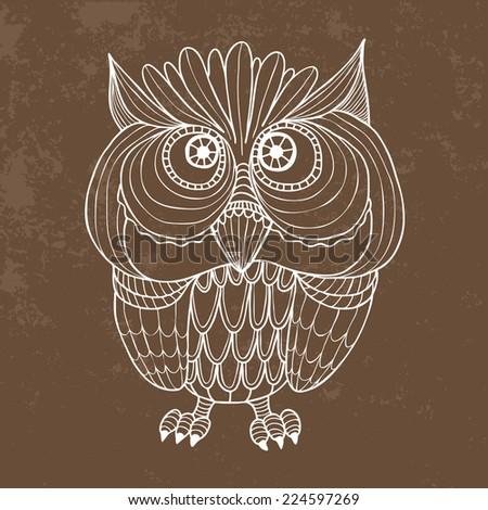 Owl free hand drawn - Vector - stock vector