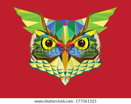 Owl head in geometric style - stock vector