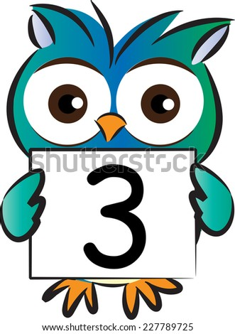 owl holding number card - stock vector