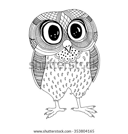Owl illustration. Original drawing of owl on simple white background - stock vector