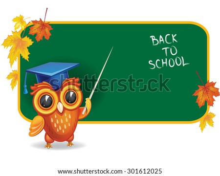 Owl in graduation cap in front of school chalk board - stock vector