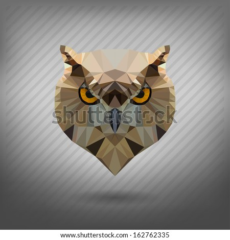 owl in the style of origami - stock vector