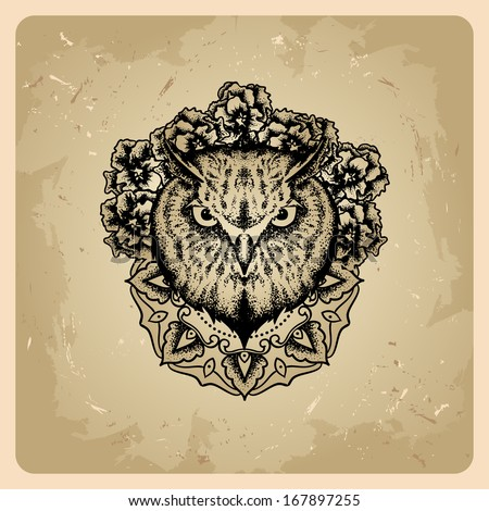 owl in the style of tattoo - stock vector