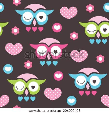 owl love and flower pattern vector illustration - stock vector