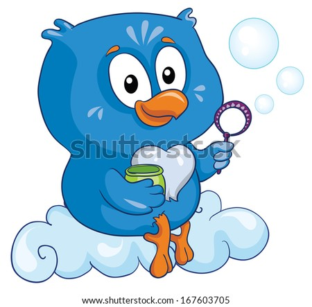 owl on a cloud on a white background, vector illustration - stock vector