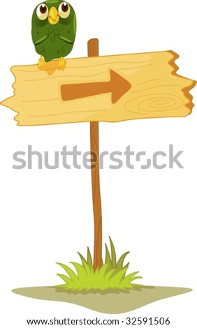 Owl on a directional post - stock vector