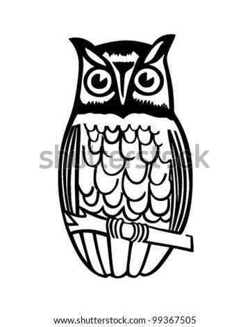 Owl On Branch - Retro Clipart Illustration - stock vector