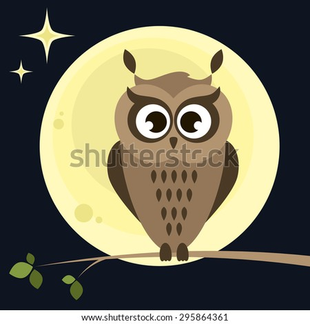 owl on the tree at night - stock vector