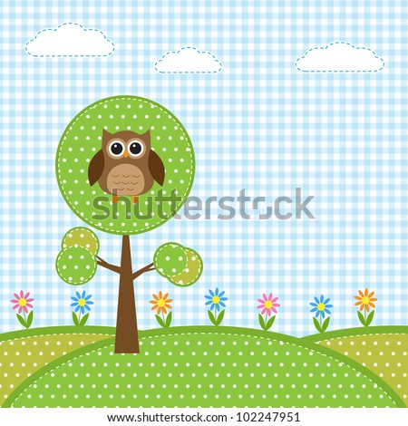 Owl on tree and flowers - stock vector