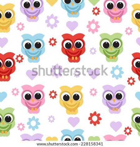 owl seamless pattern. vector - stock vector