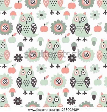 Owl seamless pattern. Vector illustration. - stock vector