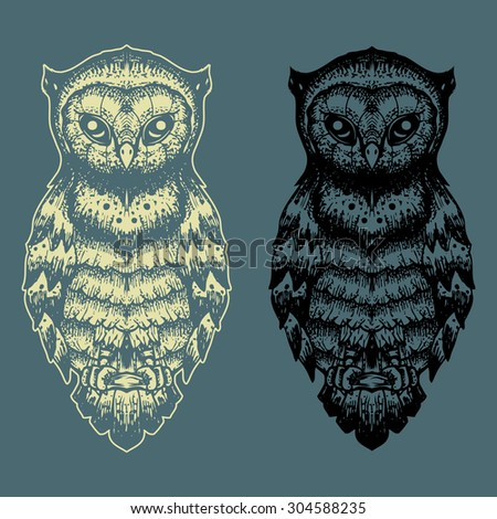 Owl set vector hand draw illustration design - stock vector