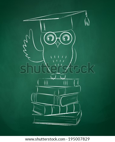 Owl sitting on books. Chalkboard drawing. Vector illustration. - stock vector