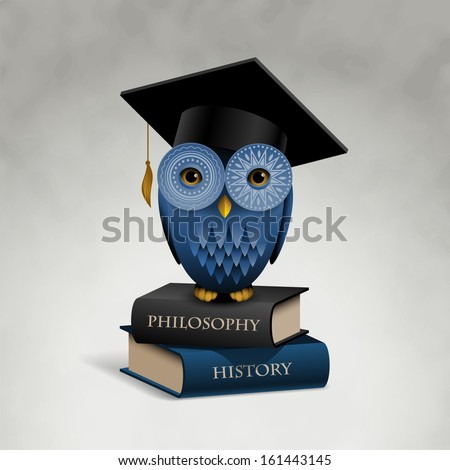 Owl sitting on books, eps10 vector - stock vector