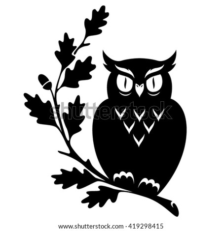 Owl sitting on the oak branch. Black illustration isolated on white background