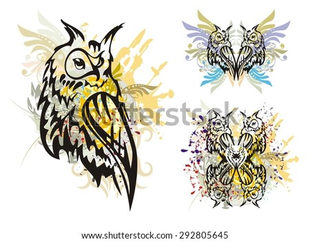 Owl splashes. Grunge tribal horned owl with floral elements splashes and blood drops - stock vector