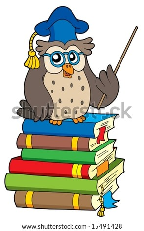 Owl teacher and books - vector illustration. - stock vector