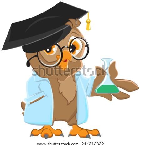 Owl teacher in a blue robe holding a flask. Vector cartoon illustration - stock vector