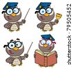 Owl Teacher-Vector Collection - stock photo