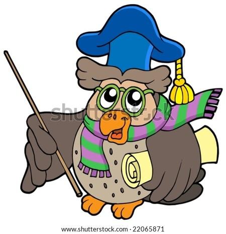 Owl teacher with parchment - vector illustration. - stock vector