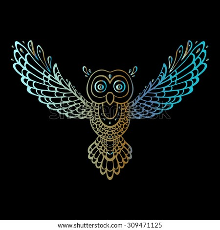 Owl. Tribal pattern. Polynesian tattoo style. Vector illustration.