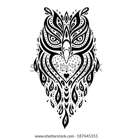 Owl. Tribal pattern. Polynesian tattoo. Vector illustration. - stock vector
