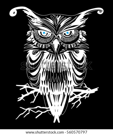 owl vector art on black background stock vector 560570797 shutterstock rh shutterstock com vector owl family clipart owl clip art vector