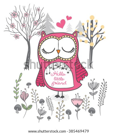 Owl vector,cute cartoon characters.T-shirt Graphics.hand drawn illustration.Children illustration for School books and more. Separate Objects.